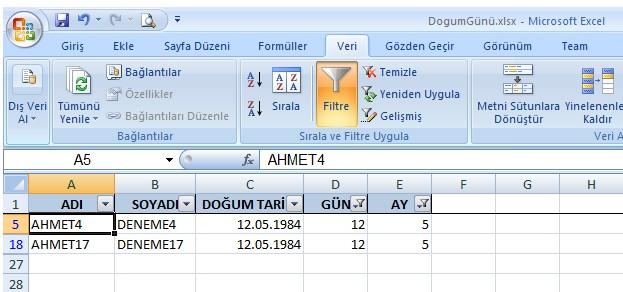 Excel doğum günü bulma