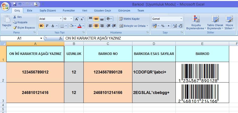Excel Barkodu