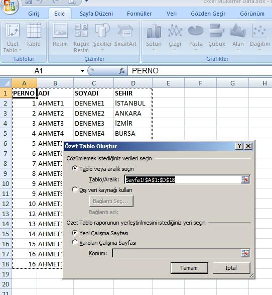 Excel Mükerrer 2