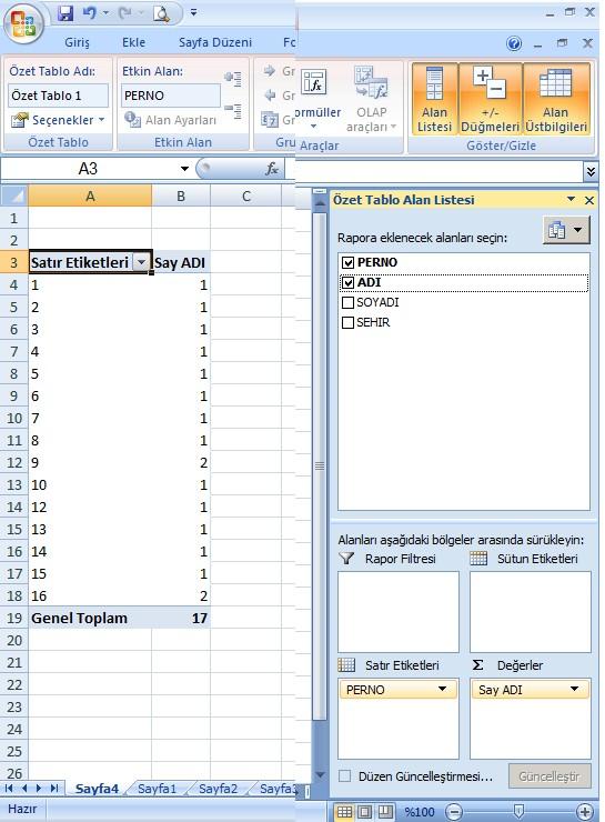 Excel Mükerrer 4