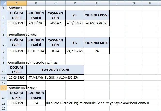 Excel Yaş Hesaplama